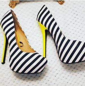Wild Diva Black White and Lime  Heels